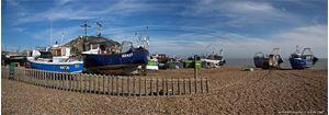 Picture of Sussex  - Hastings, Beach & East Pier Panorama 2015 - N3456