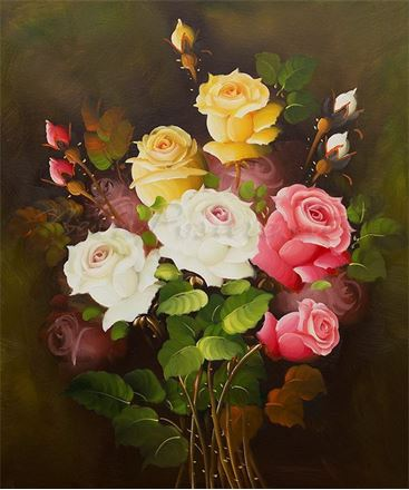 Picture of Flowers - Roses - Pink, White & Yellow - O011