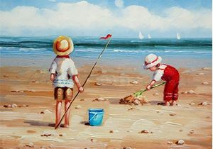 Picture of Seaside - Children at the Seaside - O085