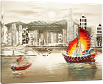 Picture of Landscapes - Hong Kong Harbour & Junk Boat - O030