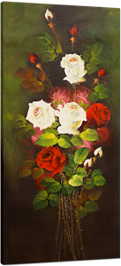 Picture of Flowers - Roses - Red & White Tall Bunch - O023